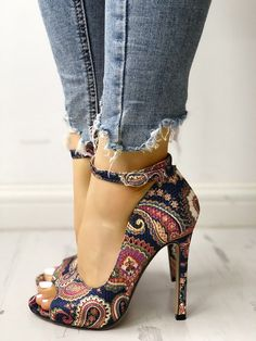 2a8ca9b91ca Ethnic Print Peep Toe Ankle Strap Thin Heeled Sandals