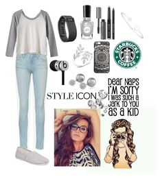 """High school"" by pattynavarro on Polyvore featuring Frame Denim, TOMS, Fitbit, Sally Hansen, Sarah Chloe, Bobbi Brown Cosmetics, Beats by Dr. Dre, Carolee and RVCA"