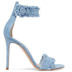 Gianvito Rossi Lola frayed denim sandals ($700) ❤ liked on Polyvore featuring shoes, sandals, high heel stilettos, strap high heel sandals, strappy stilettos, high heel sandals and strap shoes