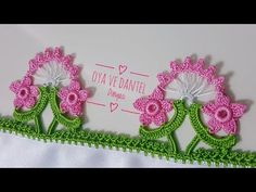 This Pin was discovered by εφη Cute Crochet, Irish Crochet, Easy Crochet, Crochet Lace, Creative Embroidery, Embroidery Designs, Baby Knitting Patterns, Crochet Patterns, Crochet Borders