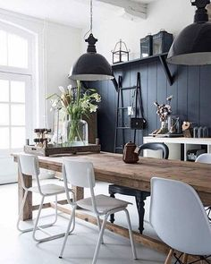 White + Black + Wood. #oneblackchair #modernfarmhouse #perfection Unknown via Pinterest