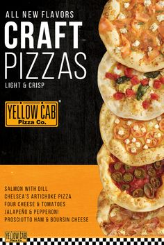 Get the ALL NEW FLAVORS of the light & crisp Craft Pizza! Now with 5 variants to choose from:  1. Chelsea's Artichoke Pizza 2. Prosciutto Ham & Boursin Cheese 3. Smoked-Salmon with Dill 4. Four Cheese & Tomato Pizza 5. Jalapeño and Pepperoni  Order now at yellowcabpizza.com!