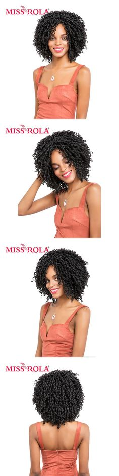Miss Rola 1B# Soft Dread Lock Synthetic Hair Extensions 15 Roots Kanekalon Low Temperature Fiber Curly Crochet Braids 13.5 Inch