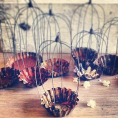 Mini bird cages made with vintage tart molds