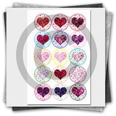 Foil Hearts Printable Bottle Cap Images