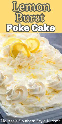 Lemon Dessert Recipes, Poke Cake Recipes, Lemon Recipes, Easy Desserts, Sweet Recipes, Baking Recipes, Delicious Desserts, Cake Mix Desserts, Coconut Recipes