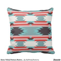 Aztec Tribal Pattern Native American Red Blue Throw Pillows
