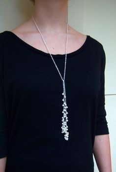Long pearl necklace, long lariat, freshwater pearl lariat - Daisy. $48.50, via Etsy.