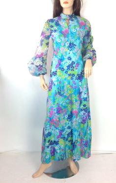 Vintage 70s Maxi Dress Neon Floral Dress by sixcatsfunVINTAGE