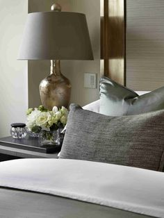 silver and gold palette   luxurious textures for the bedroom   The Lancasters (Hyde Park I think)