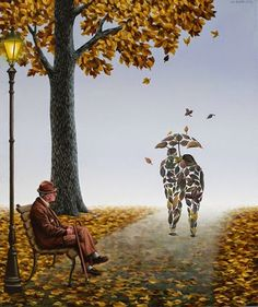 Melancholy in Fall by MIHAI CRISTE LA (surreal paintings)