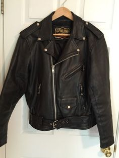 Vintage 70s leather jacket Heavy motorcycle black punk Biker  sz 42 Large EUC #PUNK #VINTAGE #BIKER #MOTORCYCLE