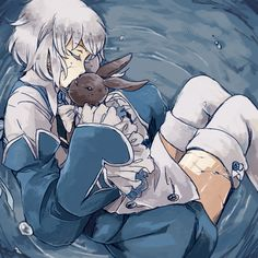 "Echo and Oz ||| Pandora Hearts Fan Art by wavily on Tumblr ||| ""FUNNY STORY when I was little I had a Jasmine doll and I wanted to play out a marriage ceremony so Jasmine married Mr. Peter, my beanie rabbit. and they lived happily ever after UNTIL the doll got so old her head rolled off and I had to throw her away. the rabbit still lives though ._. """