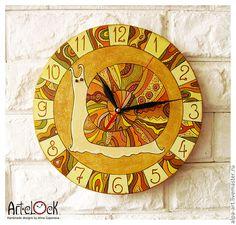 """Купить Часы настенные """"Улитка"""" - часы настенные, улитка, лето, оранжевый цвет, теплый"""