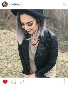 silver ombre, black, and gray hair image