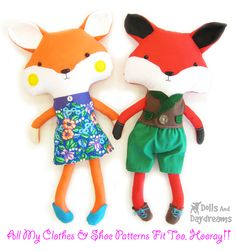 Fox Sewing Pattern - dress up softie by DollsAndDaydreams.deviantart.com on @deviantART
