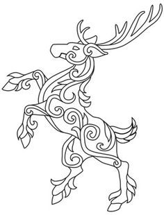 Stag for my celtic zodiac tattoo (IDEA) Celtic Patterns, Celtic Designs, Hirsch Tattoo, Diy Y Manualidades, Doodles Zentangles, Celtic Art, Coloring Book Pages, Leather Craft, Vikings