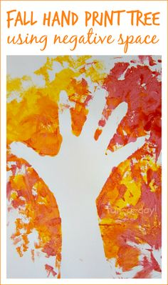 Fall Hand Print Art - a twist on the tried-and-true fall hand print tree. This method lets children explore the concept of negative space in a colorful, fun way!