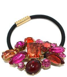 multi colored gem stone elastic
