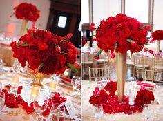 Indian wedding red and gold ideas - Wedding Party Theme Decor Gold Wedding Theme, Gold Wedding Decorations, Rose Wedding, Wedding Flowers, Wedding Ideas, Prom Ideas, Gold Flowers, Wedding Reception, Dream Wedding