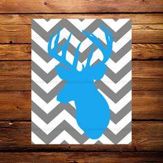 Deer Head Printable Decor - Instant Download - Chevron Poster - Printable Decor - Buck Head - Antlers - Blue - Grey - Modern Rustic Theme - by RansburyDecor