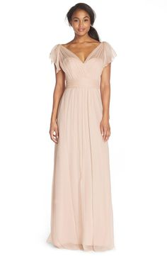 Free shipping and returns on Amsale Flutter Sleeve Silk Chiffon Gown at Nordstrom.com. Dreamy silk chiffon styles the fluttering cap sleeves, illusion neckline and bodice overlay of this stunning gown that flatters almost any figure with its ruched waist and pleated, floor-sweeping skirt. A deep V-back makes a captivating finish.