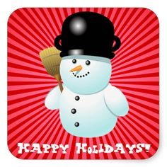 """50% OFF TODAY ONLY! Use CODE: """"ZWEEKOFDEALS"""" --- Expires on November 27, 2014 at 11:59PM PT --- Xmas Snowman Square Stickers"""