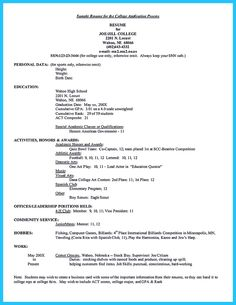 College Admission Resume Format High School Resume For College Template. Resume  Samples For .