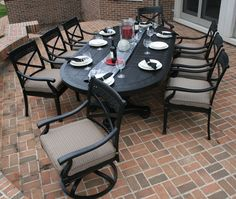The Moncler Collection All Welded Cast Aluminum Patio Furniture Dining Set