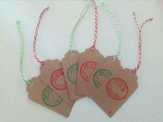 Christmas gift tags handstamped set of 6