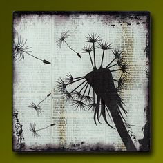 Dandelion Dream Handmade Glass and Wood Wall Blox from Upcycled Dictionary page book art - WilD WorDz - Dandilion 2 of 4 Dream .... I need this