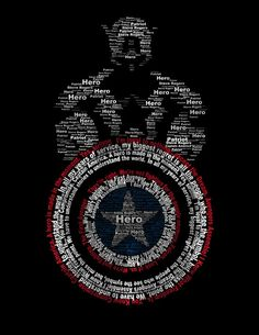 Captain America made out of words.
