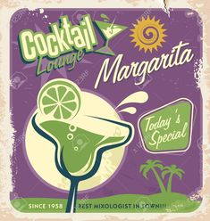 Promotional retro poster design for one of the most popular cocktails Margarita , #ad, #poster, #retro, #Promotional, #design, #Margarita