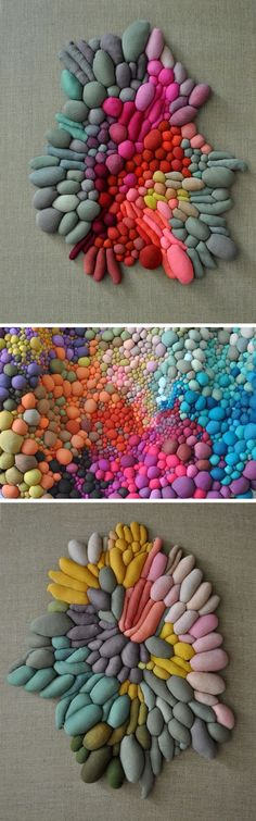 Textile Sculptures Created From Dozens of Multicolored Orbs by Serena Garcia Dalla Venezia (could use rocks)