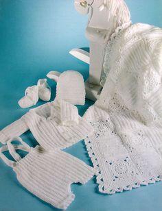 Crochet Pattern Only ~ 5-Piece Baby Boy Christening Outfit ~ Spiritual Beginning