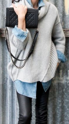 Buy the look: lookastic.de / … – Black leather skinny jeans – Light blue denim shirt – Beige oversize pullover – Black quilted leather shoulder bag Source by Mode Outfits, Winter Outfits, Casual Outfits, Winter Dresses, Vest Outfits, Winter Layering Outfits, Fall Layering, Pants Outfit, Skirt Outfits