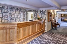 Kings Court Hotel, reception area, interior design, wallpaper ideas, sanderson, sanderson wallpaper, waiting area
