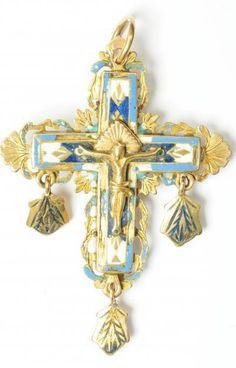croix du Puy en Velay, or et email - 60 x 74mm, 15.3g, pas de poinçon, bijou auvergnat