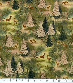 Holiday Inspirations Fabric-Vintage Forest Scenic at Joann.com
