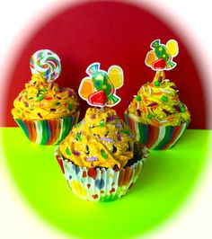 Candy Themed Fake Cupckaes- INVENTORY SALE!!! by 0CalorieCakesbyChris on Etsy