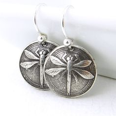 Dragonfly Earrings Tiny Silver Earrings Silver Dangle Earrings Modern Jewelry Bug Insect Oxidized Handmade Jewelry