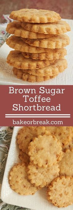 Brown Sugar Toffee Shortbread ~ these cookies pack a lot of flavor in a small package.a great simple recipe that's sure to please! Cookies Receta, Galletas Cookies, No Bake Cookies, Cookies Et Biscuits, Yummy Cookies, Shortbread Cookies, Shortbread Recipes, Brown Sugar Shortbread Cookie Recipe, Simple Shortbread Recipe