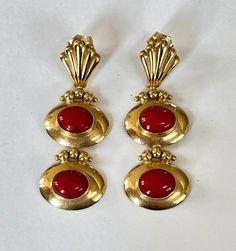 18K Coral Earrings Etruscan Drop Earrings Classic Elegance | Etsy Monet Jewelry, Art Deco Jewelry, Swarovski Brooch, Swarovski Crystals, Coral Earrings, Drop Earrings, Pierced Earrings, Vintage Earrings, Vintage Jewelry