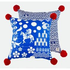 Festival Cushion From Kawaii Collection. Available in 30x40cm, 45x45cm and 70x70cm. The festival cushion cover features characters sketched from festive processions across Japan. #safomasi #kawaii #handprinted #textiles #cushion #pillow #blue #decor #interiors #festival #japan www.safomasi.com