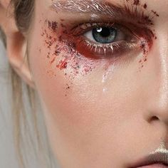 A Mehron Movement .... ❤ #Repost @thesaraengel ・・・ I M P A C T | Makeup by me | Model: @aries__95 | Photgrapher: @hollister_photo | Products: @kryolan Supra palette | #mua #makeupartist #artist #model #work #thesaraengel #photoshoot #shoot #eyes #skin #mine #mywork #eyemakeup #eyeshadow #abstract #editorial #editorialmakeup #brows  #lashes #red #messy #abstractart #freestyle #mehrongirl #mehronmakeup