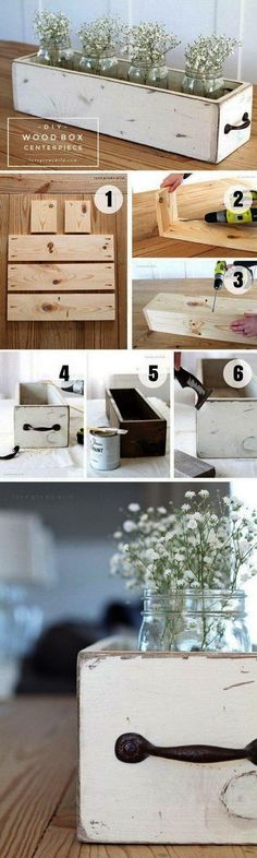 Belly Fat Burner Workout - Plans of Woodworking Diy Projects - Check out how to build an easy DIY Wood Box Centerpiece Industry Standard Design Get A Lifetime Of Project Ideas Inspiration! Woodworking Projects Diy, Diy Wood Projects, Home Projects, Woodworking Plans, Diy Wood Crafts, Woodworking Furniture, Decor Crafts, Pallet Crafts, Diy Projects With Pallets