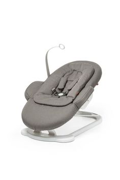 From birth    The bouncer has a large, comfortable padded seat. Available in different colours to suit your personal taste. The Newborn Insert can be removed at approximately 4 months when your baby is a bit and stronger and is able to better support itself.