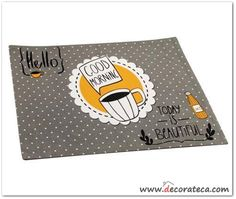 "Manteles individuales de tela ""Good morning"" en gris y amarillo - WWW.DECORATECA.COM"