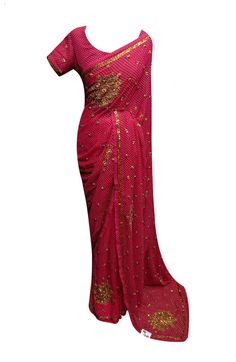 Bollywood saree - 5020 Georgette saree in Ruby colour with embossed tiny dots with beads, sequins and cutdana embroidery. Ideal for weddings, Mob Dresses, Formal Dresses, Sari Shop, Green Street, Bollywood Saree, Sherwani, Churidar, Saree Wedding, Indian Sarees
