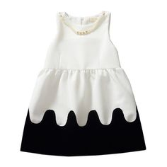 GIRLS WHITE & BLACK DECORATED DRESS - AVAILABLE 2T, 3T, 4, 5 & 6